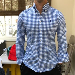 Blue and white checkered polo long sleeve